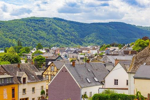 Rooftops, Village, German, Houses, Clouds, Mountain
