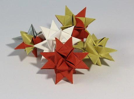 Froebelsterne, Star, Fold, Gold, Red, Atmospheric