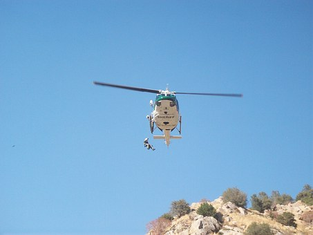 Helicopter, Man, Rescue, Blue Sky, Fly, Vehicle
