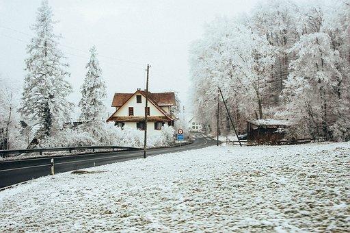 Winter, Road, Cold, Ice, Driving, Home, Farm, Landscape