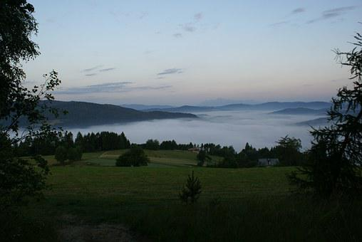 The Fog, Morning, In The Morning, Meadow, Mountains