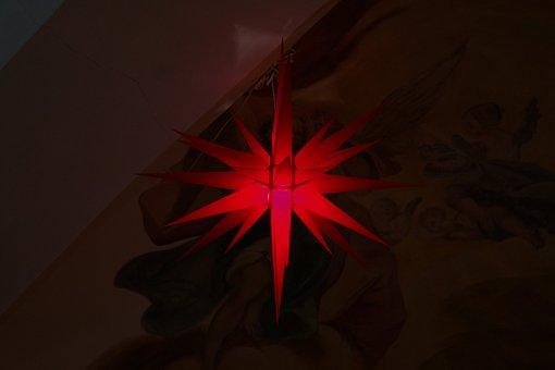 Star, Poinsettia, Red, Light, Christmas, Paper Star