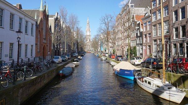 Amsterdam, River, Bridge, Ship, Netherlands, Channel