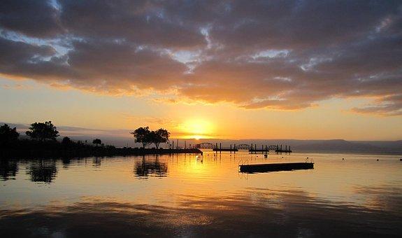 Israel, Sea Of Galilee, Sunrise, Swim, Water, Sky
