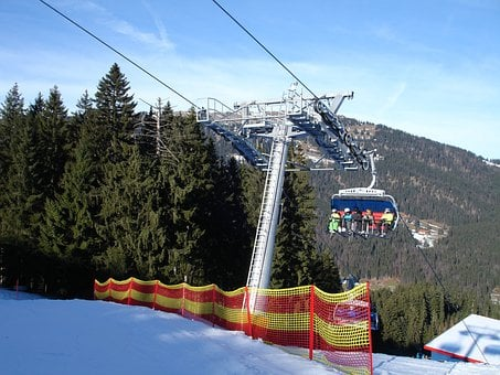 Ski Lift, Chairlift, Cable Car, Lift, Skiers, Skiing