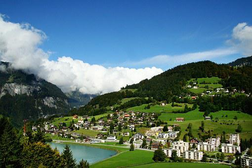 Switzerland, Titlis, Snow Mountain, Village, Forest