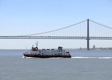 Ship, Ferry, Lisbon, Atlantic, Transport, Bridge