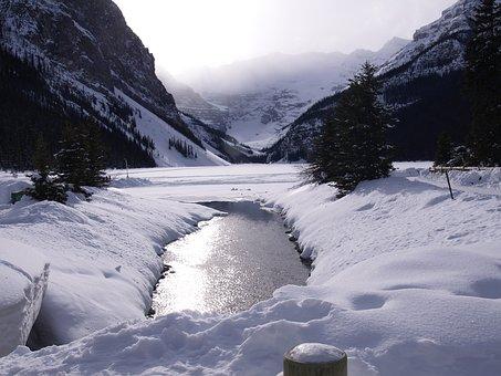 Lake Louise, Winter, Frozen Lake, Ice, Snow, Water