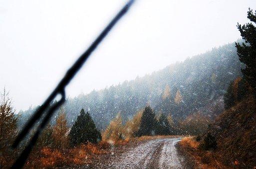 Mountain Road, Snowing, Snow, Winter, All Terrain