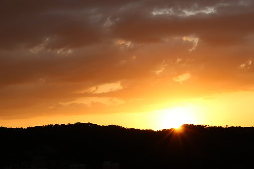 Sunrise, Winter Sunrise, In The Morning Sky, Landscape