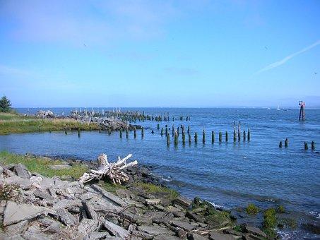 Astoria, Old Pier, Dock, Pile, Columbia River