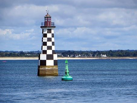 Brittany, Loctudy, Lighthouse, Seaside, Channel, Signal