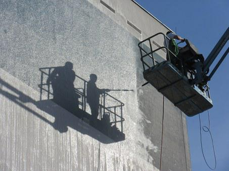 Cleaning, Facade, Building, Lift, Shadow, Workers, Work