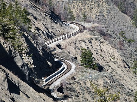 Train Tracks, Winding, Canyon, Fraser River Canyon, Dry