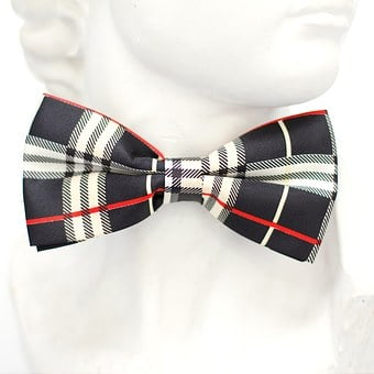 Red, Black, White, Checkered, Fly, Tie, Loop, Fashion