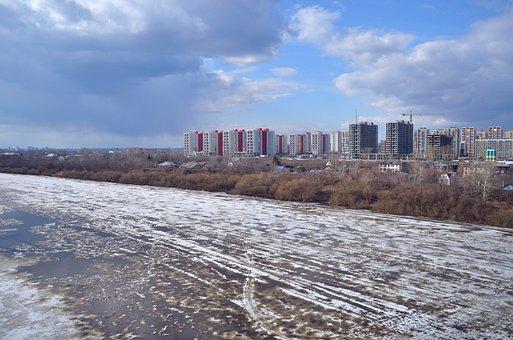 Tyumen, Tour, City, River, Spring, Quay, Ice, Ecology