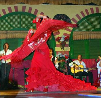 Dance, Flamenco, Spain, Dress, Red, Teatro, Shawl