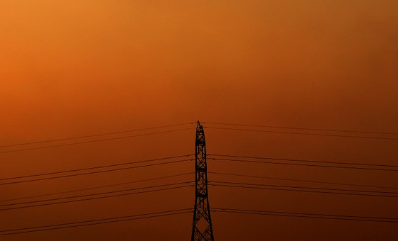 Tower, Electricity, Evening, Orange, Power, Electric
