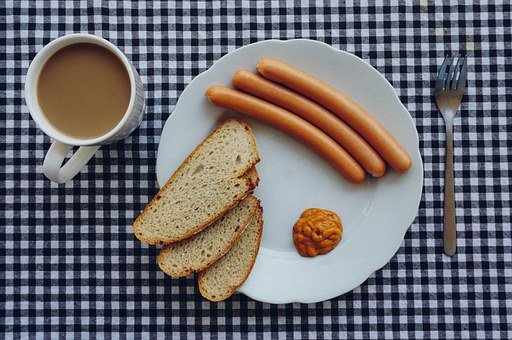 Breakfast, Coffee, Sausages, Toast, Plate, Fork, Cup