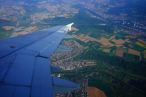 Flying, Aircraft, Wing, Aerial View, From Above