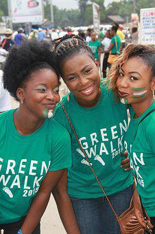 Young, Girls, Smile, Nigerians, Cotonou, Green Walk