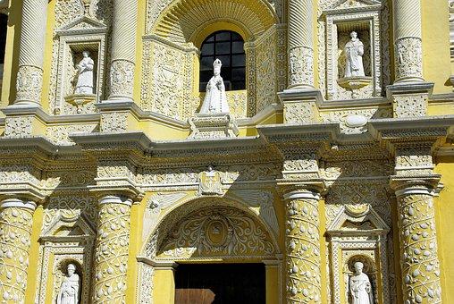 Guatemela, Antigua, Church, Merced, Baroque, Facade