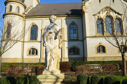 Hockenheim Germany, Church, Protestant, Statue, Stature