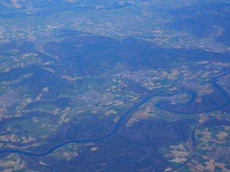 Rheinau, Rheinschleife, Aerial View, Luftbildaufnahme