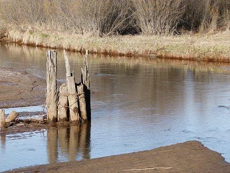 River, Water, Wooden Poles, Marshland, Wetland