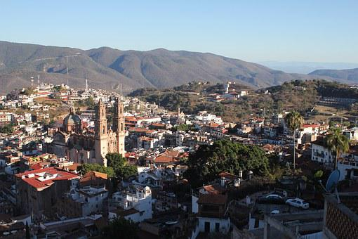 Sunset, Taxco, Mexico, Perspective, Cities, Cathedral