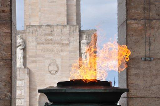 Rosario, Santa Fe, Argentina, Monument, Flag, Fire