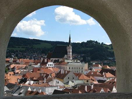 Cesky Krumlov, Window, Arch, Roofs, Old Town