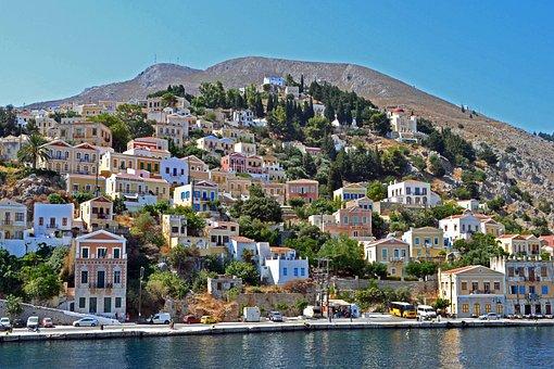 City, Mountains, Greece, Simi, Sea, Quay, Summer