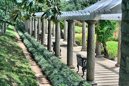 Pergola, Benches, Walkway, Wisteria Arbor, Shade, Grass