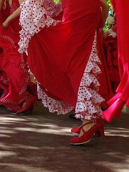 Red, Skirts, Spanish, Shoes, Dance, Flamenco