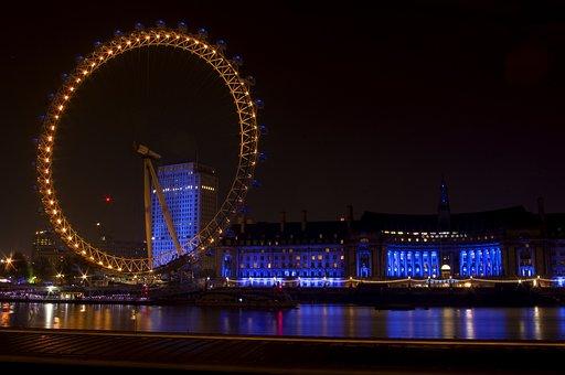 London, Eye, County, Hall, Night, Lights, City, Urban
