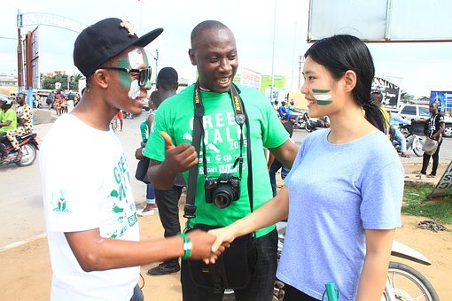 Black Men, White Lady, Asian, Green Walk, Cotonou