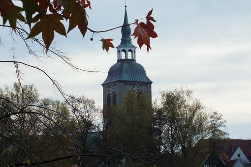 Steeple, Autumn, St Aegidius, Wiedenbrück, Church