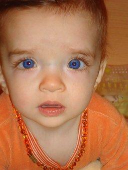 Baby, Face, Blue Eyes, Child, Boy, Amber