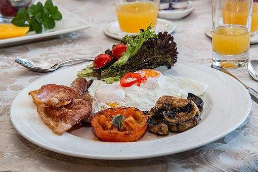 Breakfast, Poached Eggs, Bacon, Tomato, Mushrooms, Food
