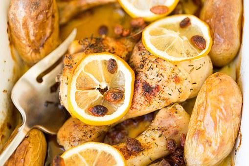 Lemon, Chicken Lemons, Slice, Dish, Dinner, Cooking