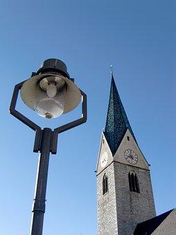 Church, Gothic Bell Tower, Sky, Lamp, Lantern