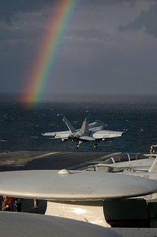 Rainbow, Sky, Clouds, Sea, Ocean, Water, Jet, Fighter