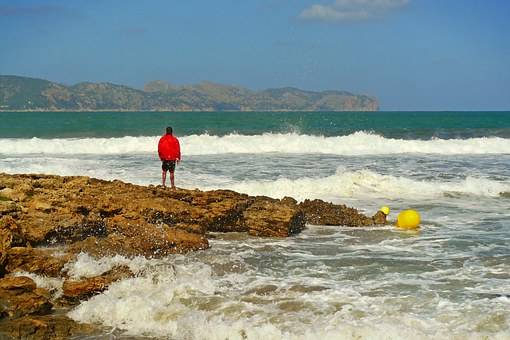 Man, Sea, Human, Coast, Landscape, Distant, Beach, Rock