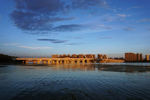 Wuxi, Bridge, Sunset, Lake, Landscape