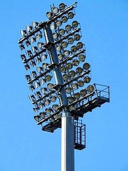 Lamps, Spotlight, Light, Lighting, Stadium
