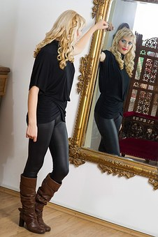 Mirror, Woman, Blonde, Reflection, Person, Looking