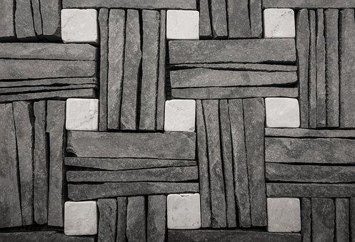 Stone Wall, Slate, Mosaic, Background, Tiles, Diamonds