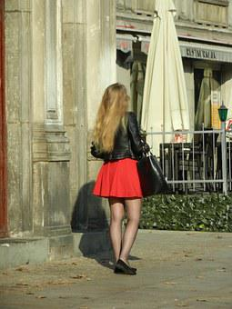 Girl, Woman, Skirt, Red, Young, People, Sexy