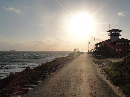 Sunset, Pier, Sea, Atmosphere, Abendstimmung, Beach